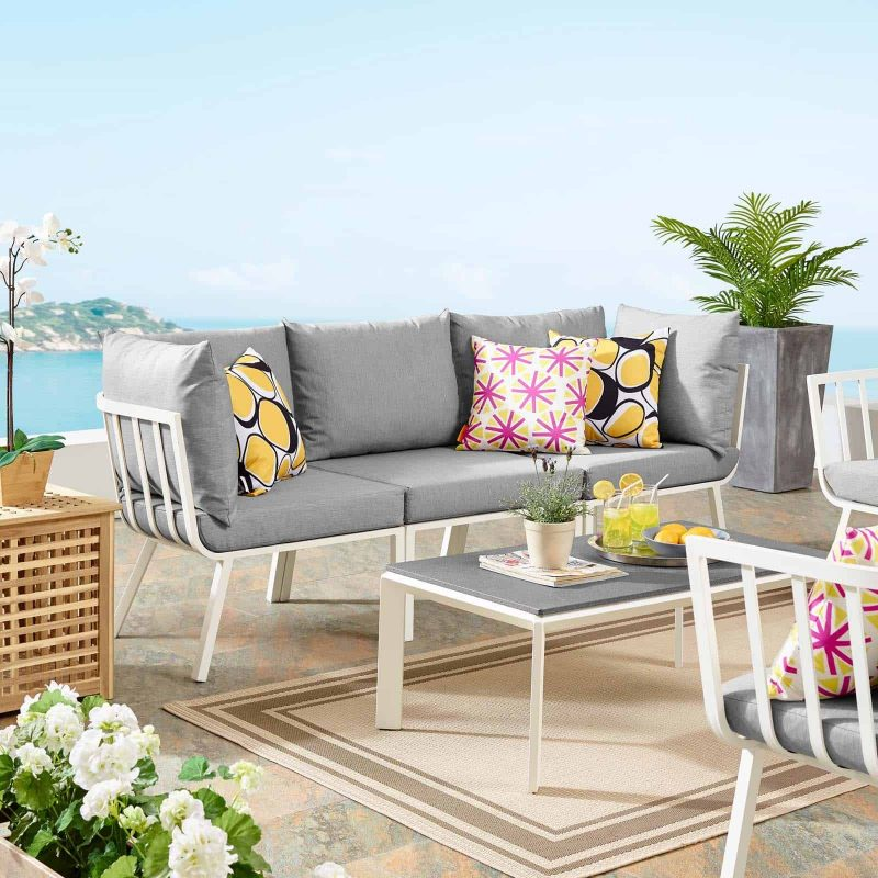 Riverside 3 Piece Outdoor Patio Aluminum Sectional Sofa Set in White Gray