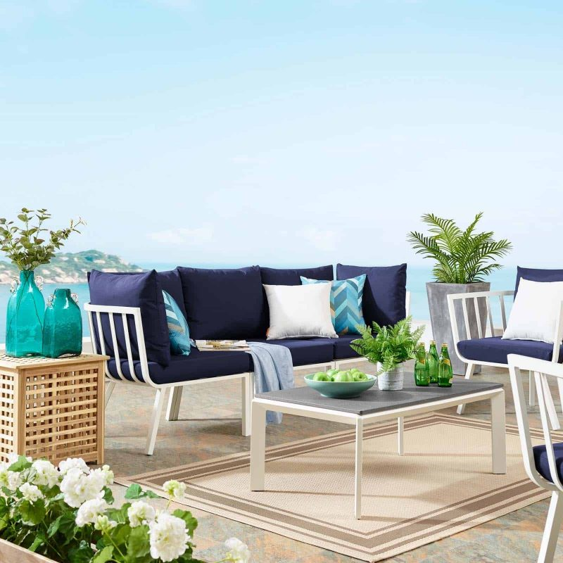 Riverside 3 Piece Outdoor Patio Aluminum Sectional Sofa Set in White Navy
