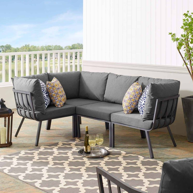 Riverside 4 Piece Outdoor Patio Aluminum Sectional in Gray Charcoal