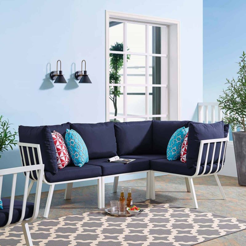 Riverside 4 Piece Outdoor Patio Aluminum Sectional in White Navy