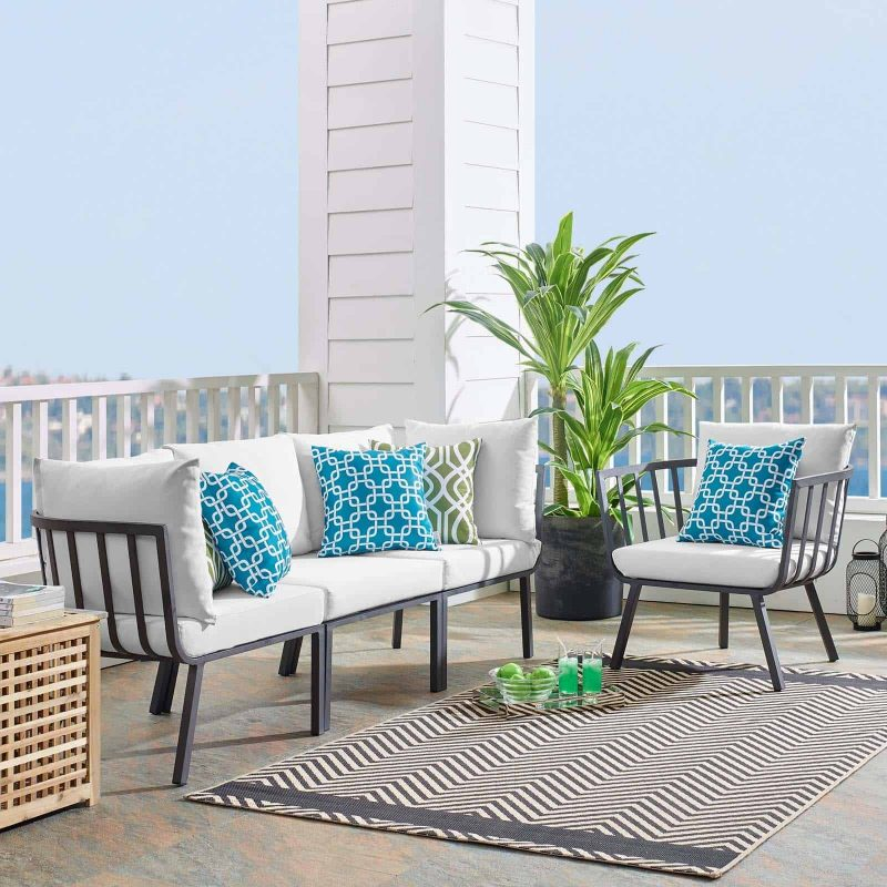 Riverside 4 Piece Outdoor Patio Aluminum Set in Gray White