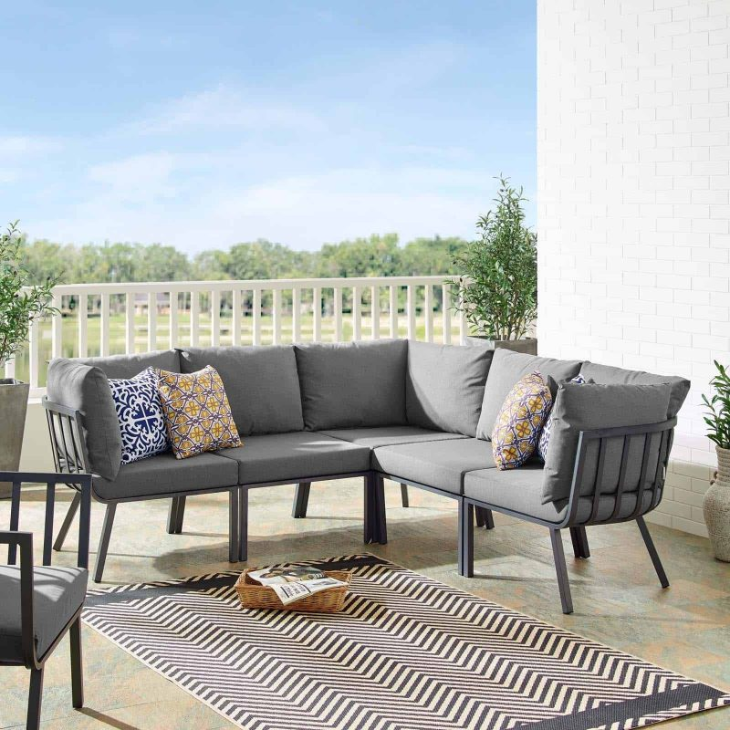 Riverside 5 Piece Outdoor Patio Aluminum Sectional in Gray Charcoal