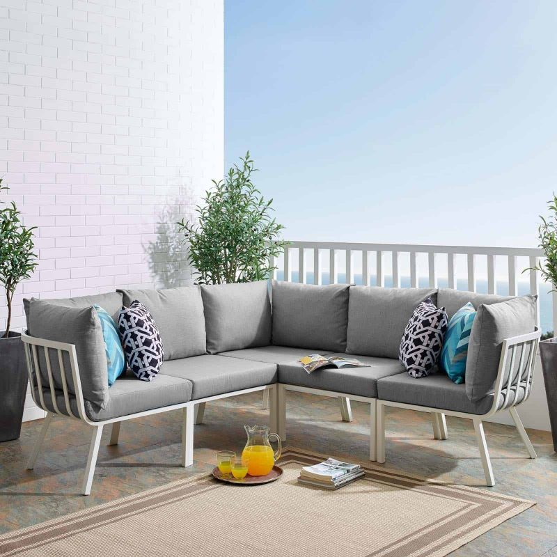 Riverside 5 Piece Outdoor Patio Aluminum Sectional in White Gray