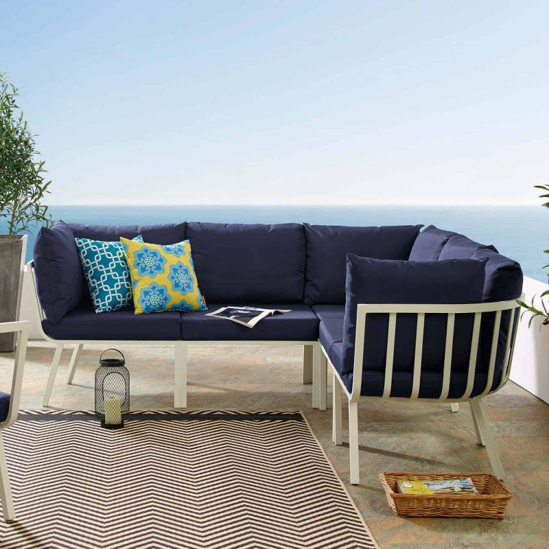 Riverside 5 Piece Outdoor Patio Aluminum Sectional in White Navy