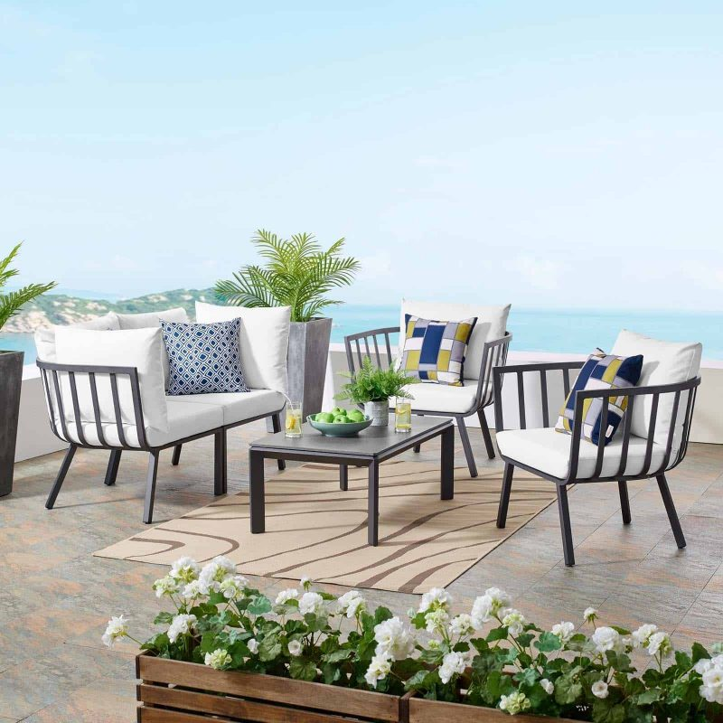 Riverside 5 Piece Outdoor Patio Aluminum Set in Gray White