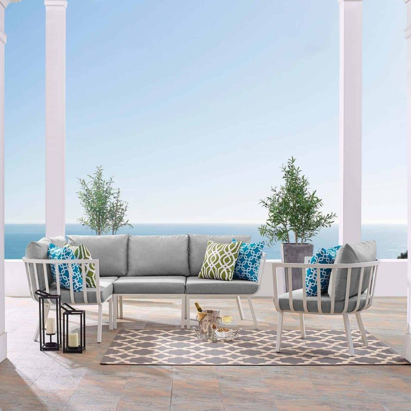 Riverside 5 Piece Outdoor Patio Aluminum Set in White Gray