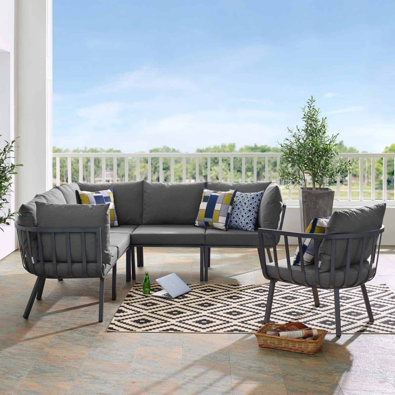 Riverside 6 Piece Outdoor Patio Aluminum Set in Gray Charcoal