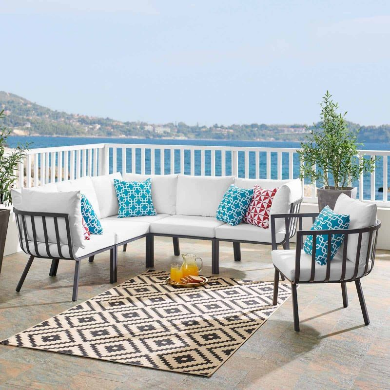 Riverside 6 Piece Outdoor Patio Aluminum Set in Gray White