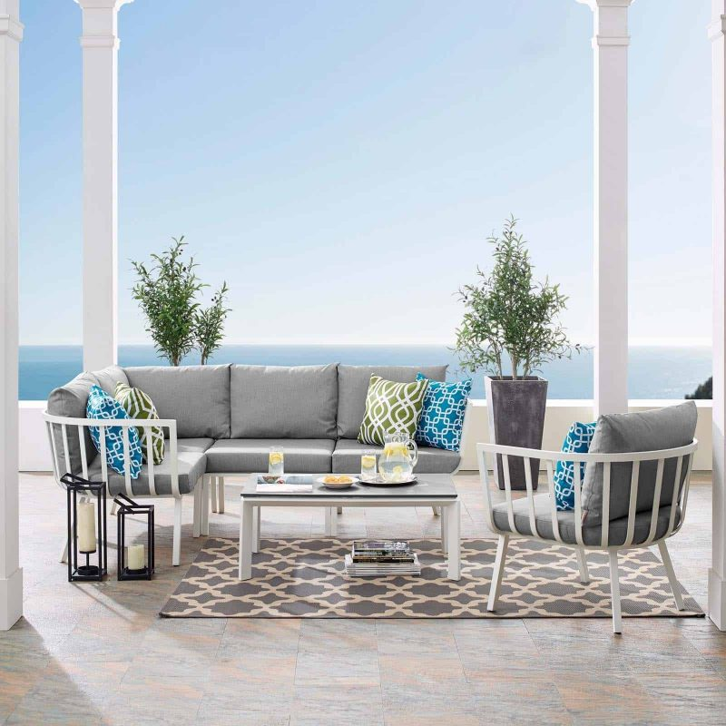 Riverside 6 Piece Outdoor Patio Aluminum Set in White Gray