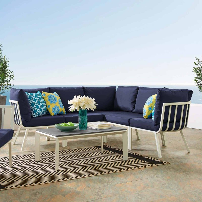 Riverside 6 Piece Outdoor Patio Aluminum Set in White Navy