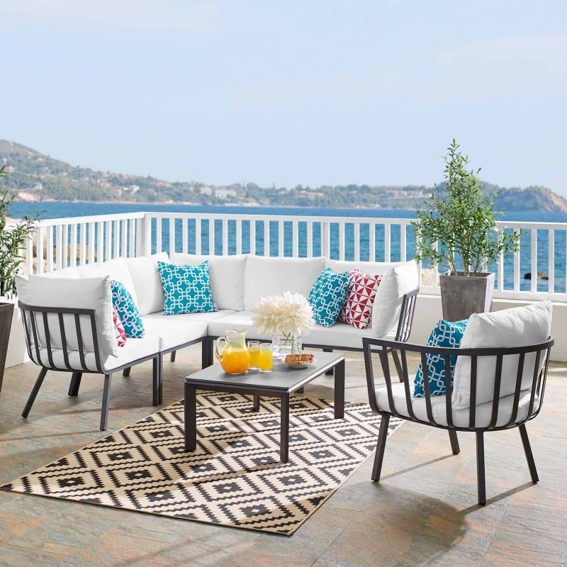Riverside 7 Piece Outdoor Patio Aluminum Set in Gray White