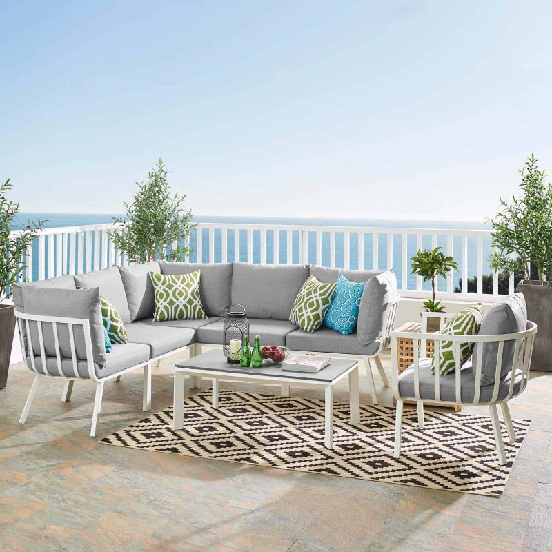 Riverside 7 Piece Outdoor Patio Aluminum Set in White Gray