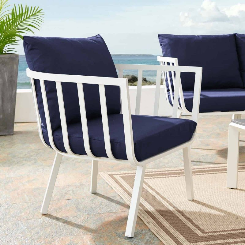 Riverside Outdoor Patio Aluminum Armchair in White Navy
