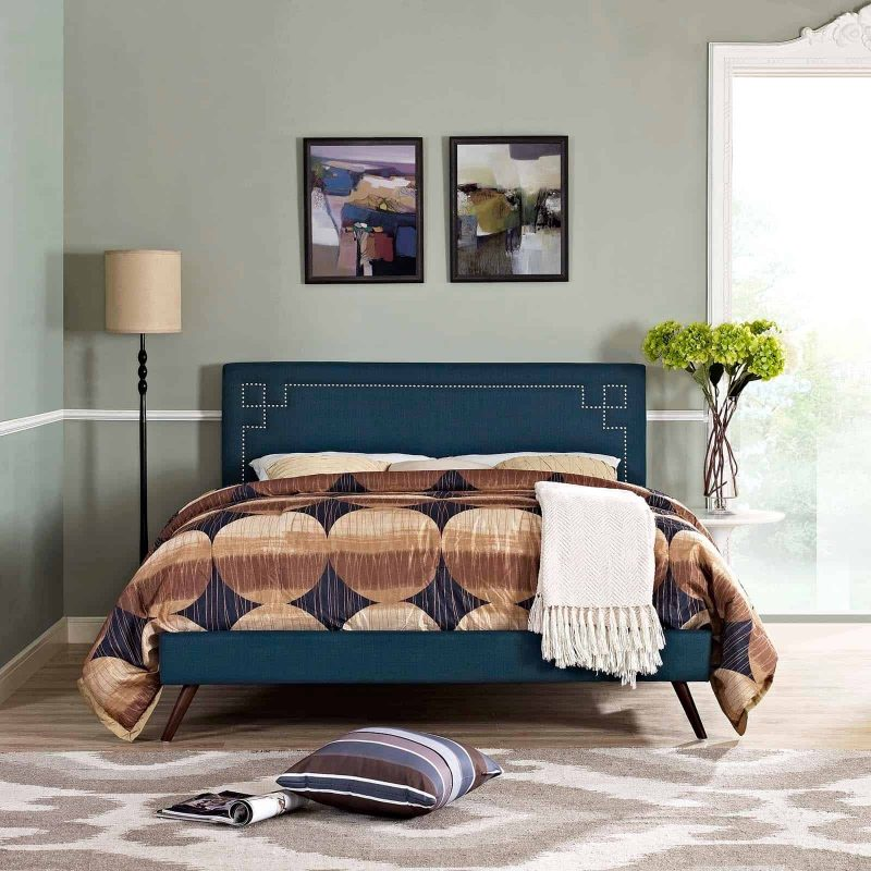 Ruthie King Fabric Platform Bed with Round Splayed Legs in Azure