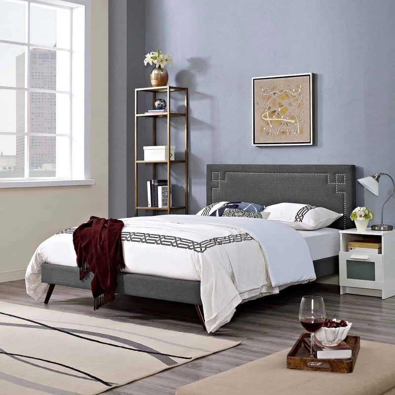 Ruthie King Fabric Platform Bed with Round Splayed Legs in Gray