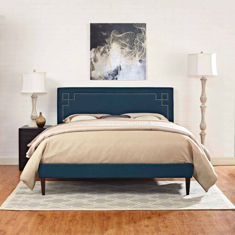 Ruthie King Fabric Platform Bed with Squared Tapered Legs in Azure