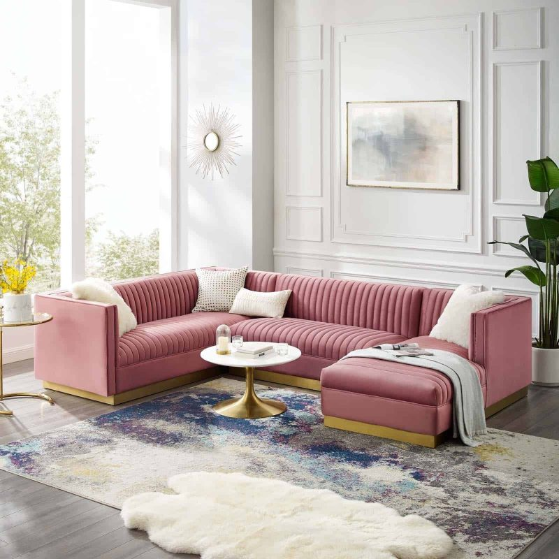 Sanguine 3 Piece Performance Velvet Sectional Sofa Set in Dusty Rose