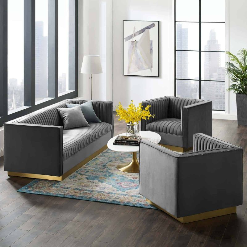 Sanguine 3 Piece Vertical Channel Tufted Upholstered Performance Velvet Set in Gray
