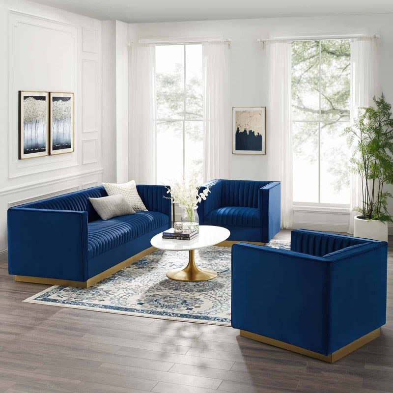 Sanguine 3 Piece Vertical Channel Tufted Upholstered Performance Velvet Set in Navy