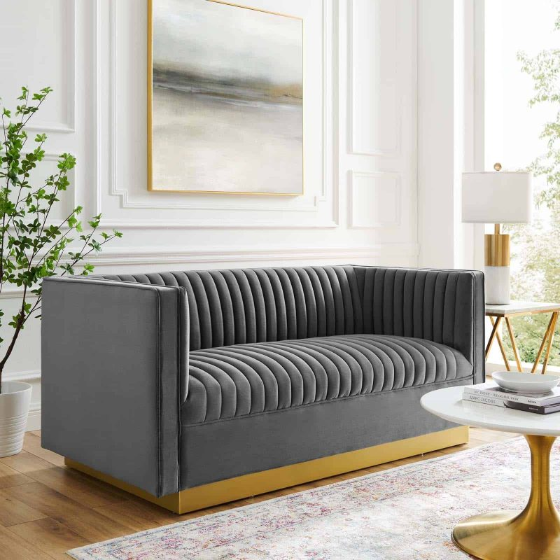 Sanguine Vertical Channel Tufted Performance Velvet Loveseat in Gray