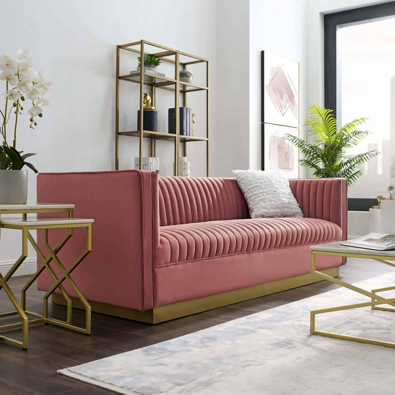 Sanguine Vertical Channel Tufted Performance Velvet Sofa in Dusty Rose