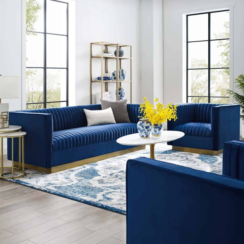 Sanguine Vertical Channel Tufted Upholstered Performance Velvet Sofa and Armchair Set in Navy