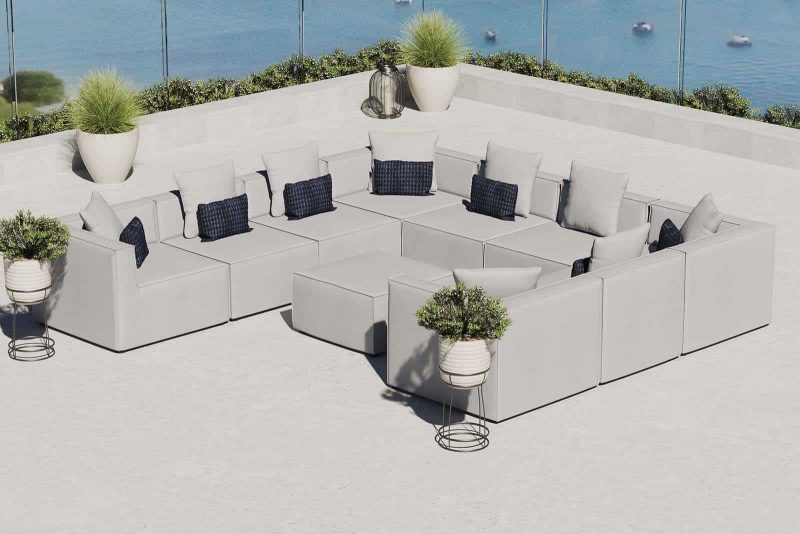 Saybrook Outdoor Patio Upholstered 10-Piece Sectional Sofa in Gray
