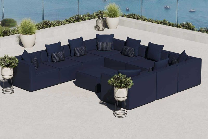 Saybrook Outdoor Patio Upholstered 10-Piece Sectional Sofa in Navy
