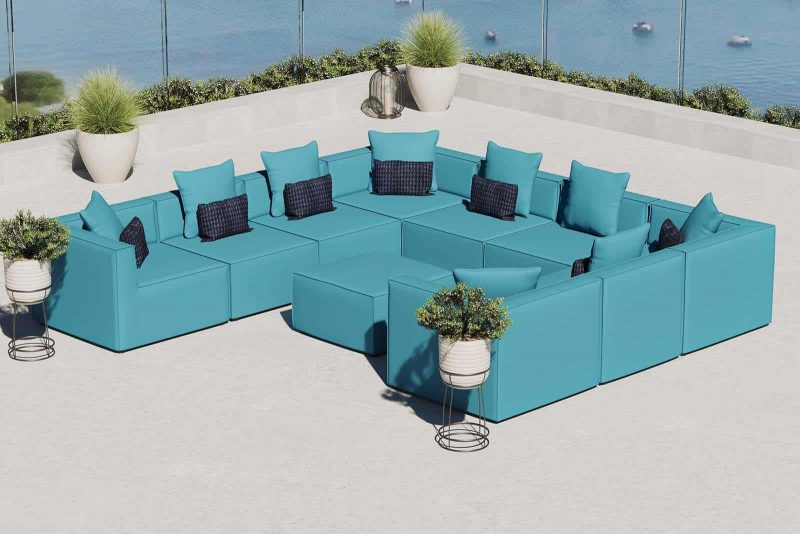 Saybrook Outdoor Patio Upholstered 10-Piece Sectional Sofa in Turquoise