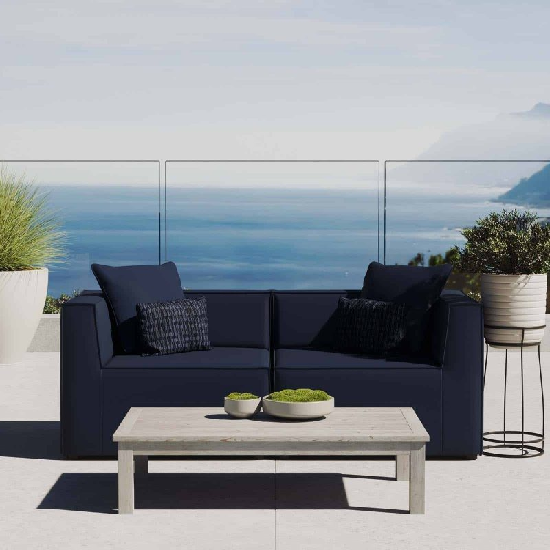 Saybrook Outdoor Patio Upholstered 2-Piece Sectional Sofa Loveseat in Navy