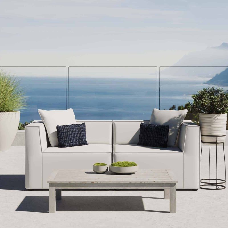 Saybrook Outdoor Patio Upholstered 2-Piece Sectional Sofa Loveseat in White