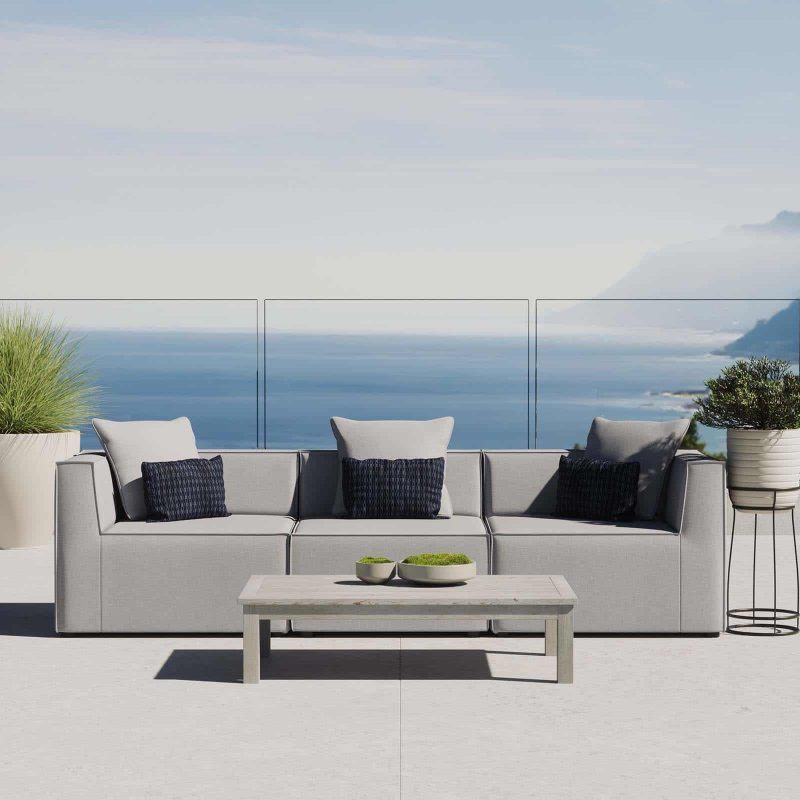 Saybrook Outdoor Patio Upholstered 3-Piece Sectional Sofa in Gray