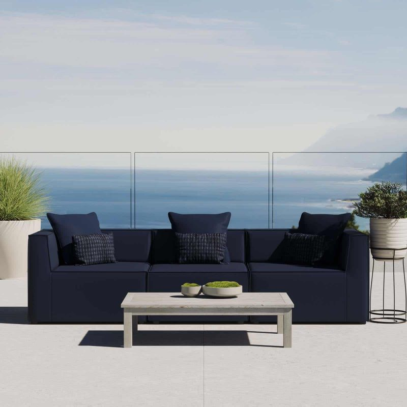 Saybrook Outdoor Patio Upholstered 3-Piece Sectional Sofa in Navy