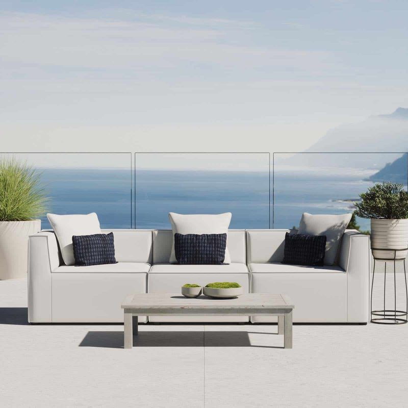 Saybrook Outdoor Patio Upholstered 3-Piece Sectional Sofa in White