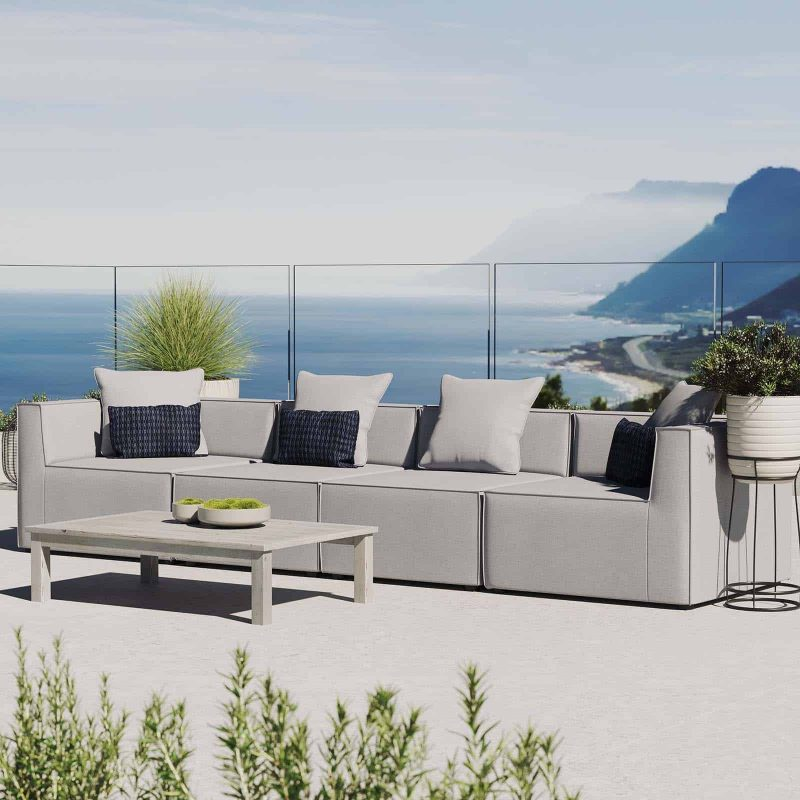 Saybrook Outdoor Patio Upholstered 4-Piece Sectional Sofa in Gray
