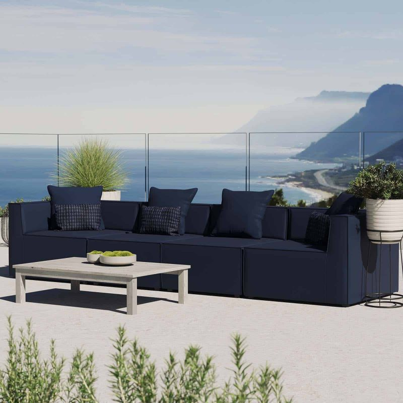 Saybrook Outdoor Patio Upholstered 4-Piece Sectional Sofa in Navy