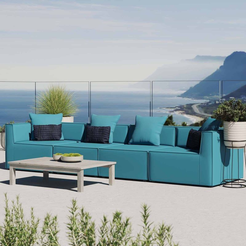 Saybrook Outdoor Patio Upholstered 4-Piece Sectional Sofa in Turquoise