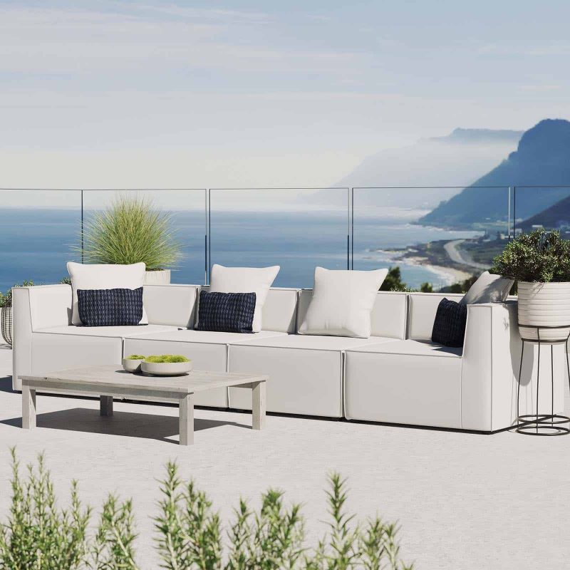 Saybrook Outdoor Patio Upholstered 4-Piece Sectional Sofa in White