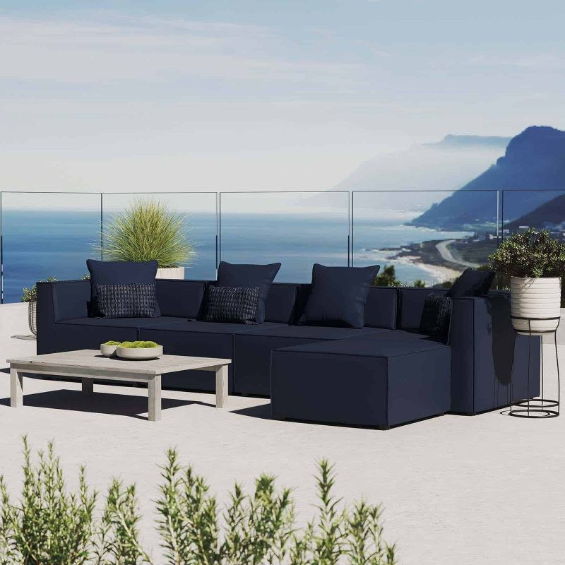 Saybrook Outdoor Patio Upholstered 5-Piece Sectional Sofa in Navy
