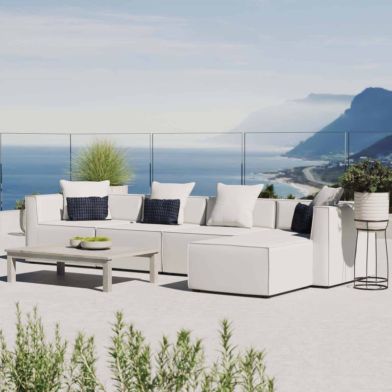Saybrook Outdoor Patio Upholstered 5-Piece Sectional Sofa in White