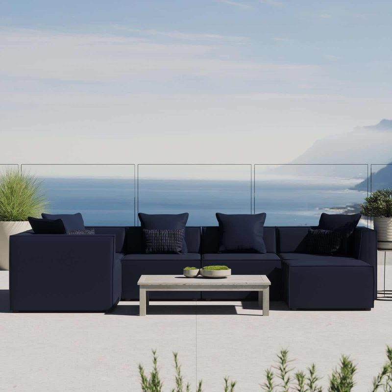 Saybrook Outdoor Patio Upholstered 6-Piece Sectional Sofa in Navy
