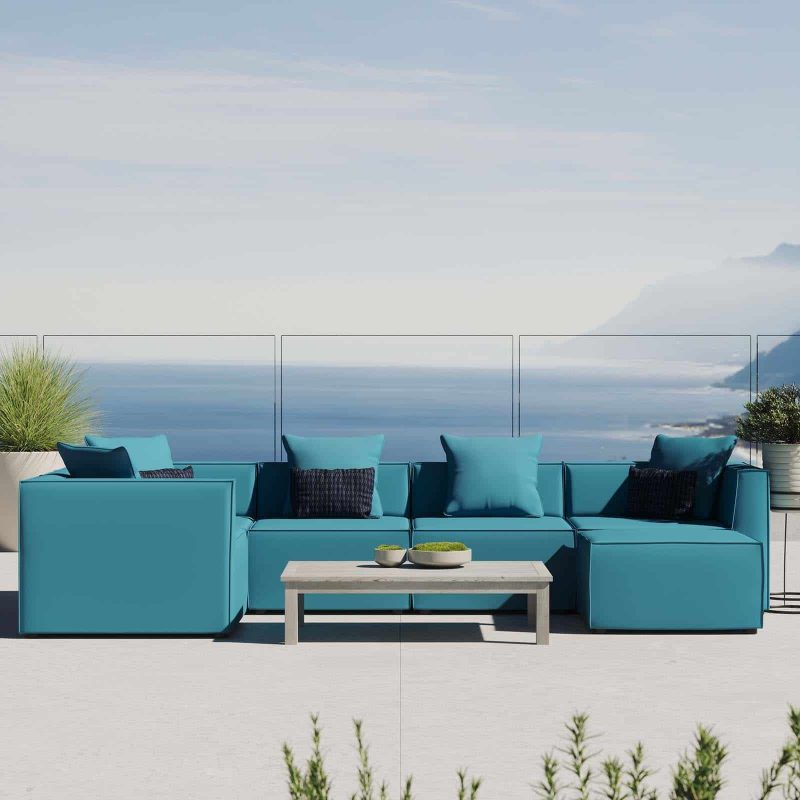 Saybrook Outdoor Patio Upholstered 6-Piece Sectional Sofa in Turquoise