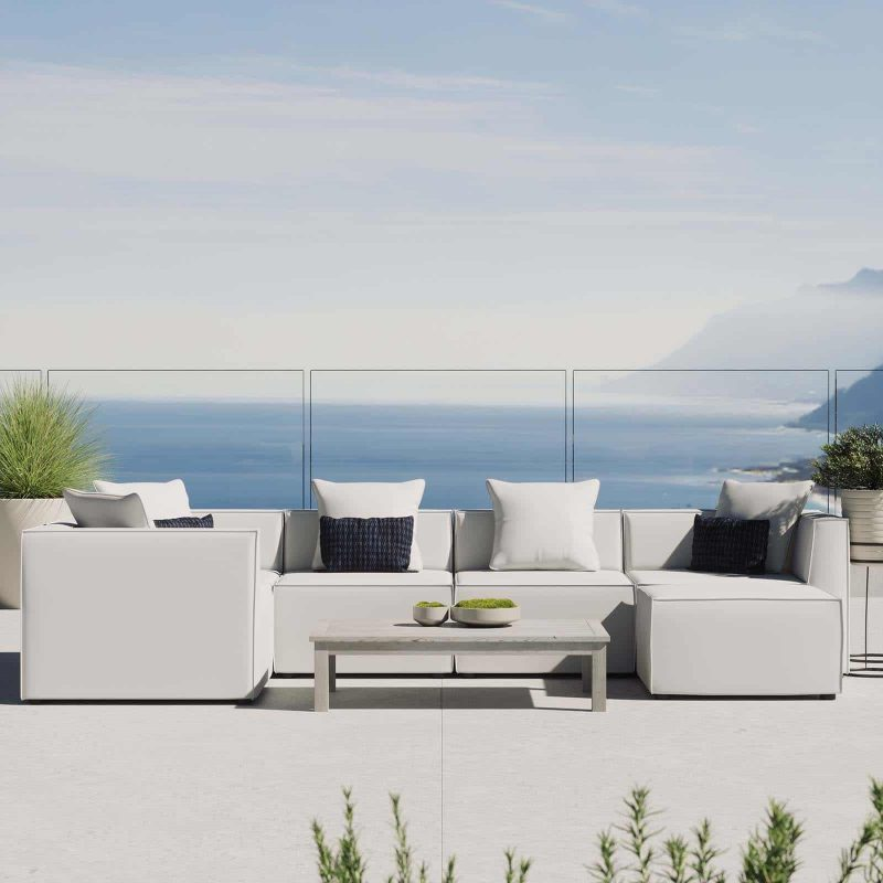 Saybrook Outdoor Patio Upholstered 6-Piece Sectional Sofa in White