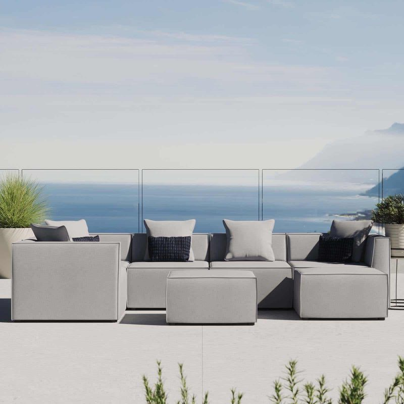 Saybrook Outdoor Patio Upholstered 7-Piece Sectional Sofa in Gray
