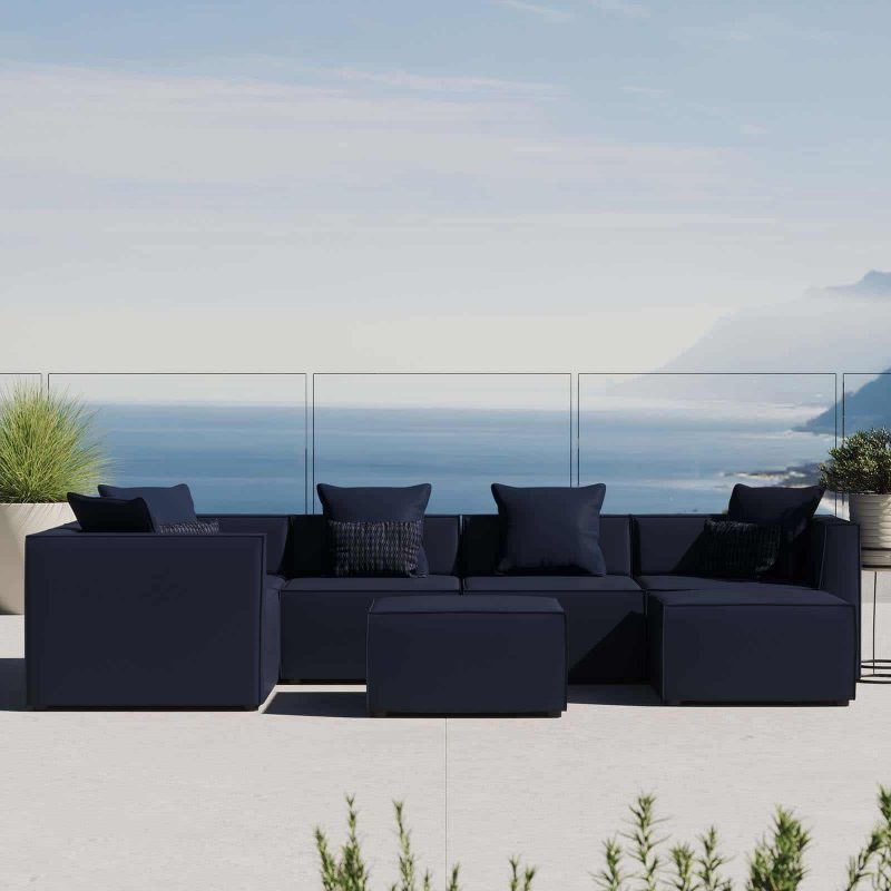 Saybrook Outdoor Patio Upholstered 7-Piece Sectional Sofa in Navy