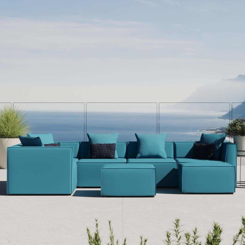 Saybrook Outdoor Patio Upholstered 7-Piece Sectional Sofa in Turquoise