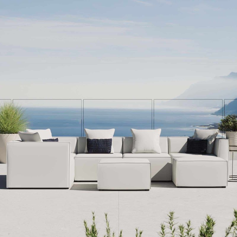 Saybrook Outdoor Patio Upholstered 7-Piece Sectional Sofa in White