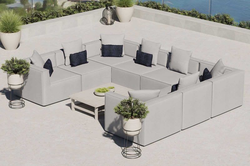 Saybrook Outdoor Patio Upholstered 8-Piece Sectional Sofa in Gray