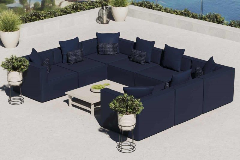 Saybrook Outdoor Patio Upholstered 8-Piece Sectional Sofa in Navy