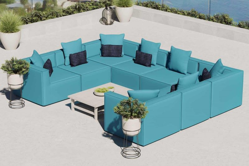 Saybrook Outdoor Patio Upholstered 8-Piece Sectional Sofa in Turquoise